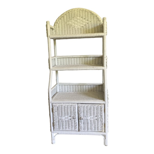 1970s Shabby Chic White Woven Wicker Etageres Bookcase For Sale
