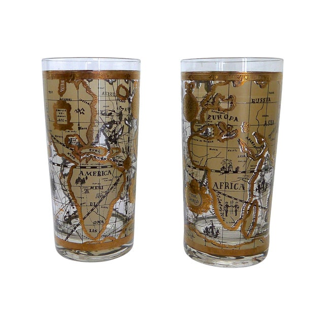 Old world map glasses set of 6 chairish old world map glasses set of 6 image 4 of 6 gumiabroncs Gallery