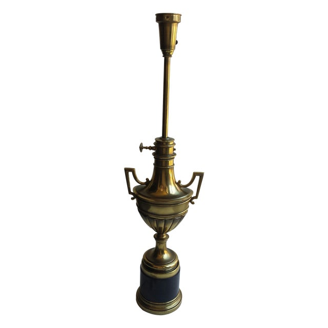 Stiffel Torchiere Lamp Brass & Hunter Green Trophy Lamp - Image 1 of 8