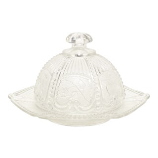 Pressed Glass Domed Butter Dish For Sale