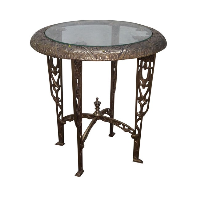 Art Deco Antique Brass & Glass Round Side Table - Image 1 of 10