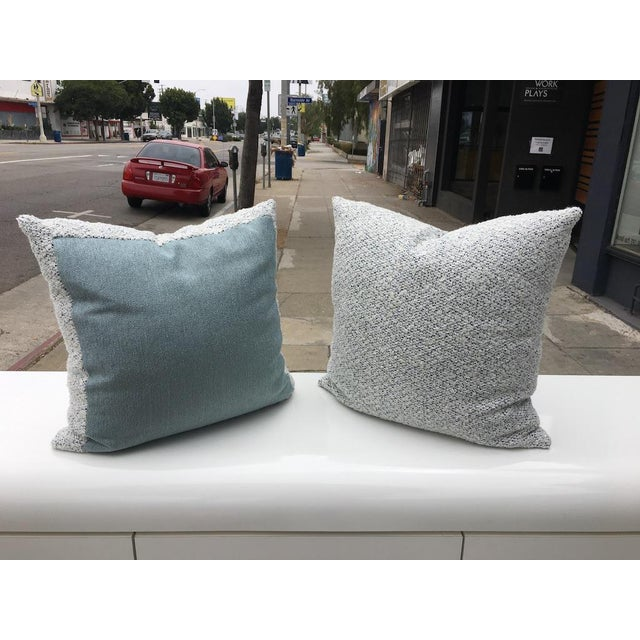 White Custom White and Blue Boucle Pillows - A Pair For Sale - Image 8 of 9