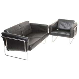 "Hans Eichenburger ""Aries"" Leather Sofa and Chair Set - a Pair For Sale"