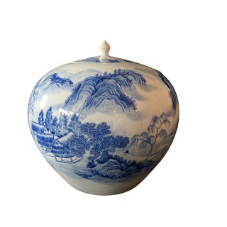 """Egg Shaped Hand-Painted Blue & White Chinoiserie Ginger Jar 11"""" H For Sale"""