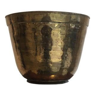 1950s Large Solid Copper Handmade Planter Cache Pot