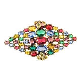 Czech Art Deco Jewel-Tone Bohemian Crystal Brooch 1920s For Sale