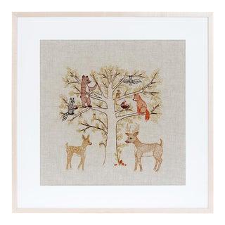 Woodland Family Framed Textile Art For Sale