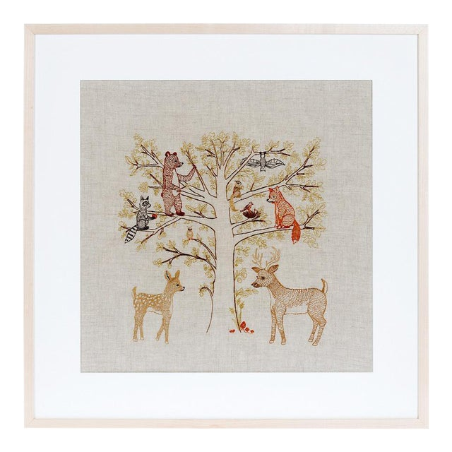 Woodland Family Framed Textile Art - Image 1 of 3
