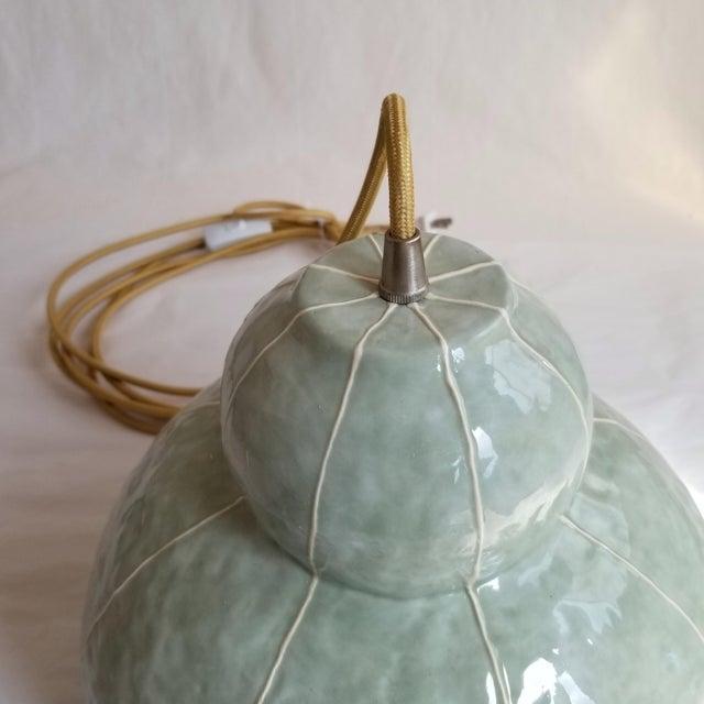 2020s Modern Handmade Celadon Ceramic Pendant Light For Sale - Image 5 of 7