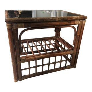 1980s Boho Chic Rattan Bamboo Glass Top Side Table For Sale