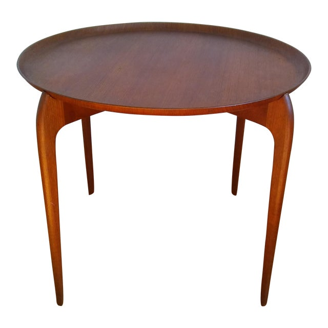 Fritz Hansen Teak Tray Table For Sale