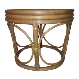 1960's Vintage Boho Chic Round Shaped Bamboo Reeded Rattan Ottoman For Sale