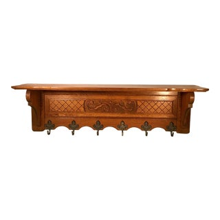20th Century French Carved Tiger Oak Wall Shelf Coat Hat Rack For Sale