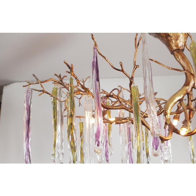 1980s Modernist Gilt Bronze and Colorful Art Glass Chandelier For Sale - Image 5 of 12