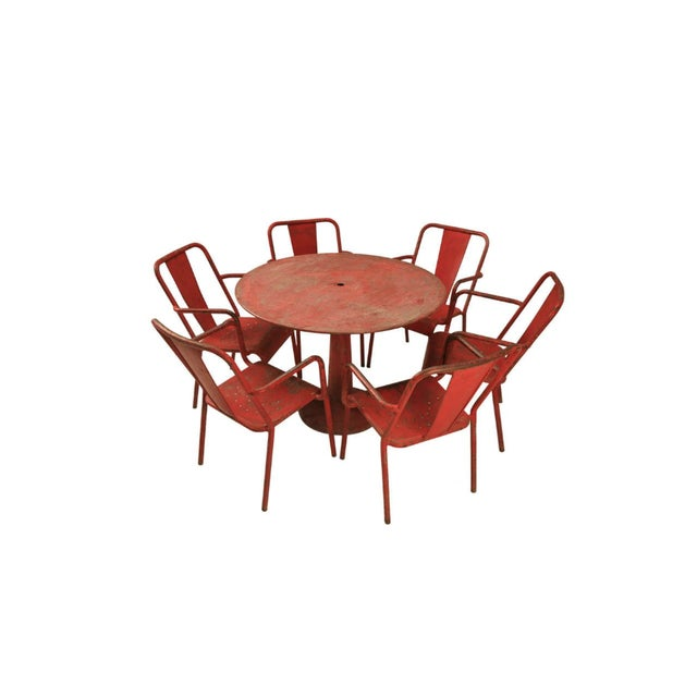 French Mid-Century Industrial Steel Table and Chairs - 7 pieces For Sale - Image 12 of 12