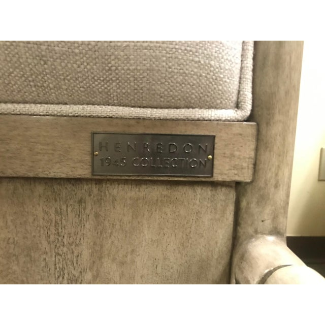 Henredon Furniture 1945 Collection Catherine Grey Makore Upholstered King Panel Bed For Sale - Image 9 of 12