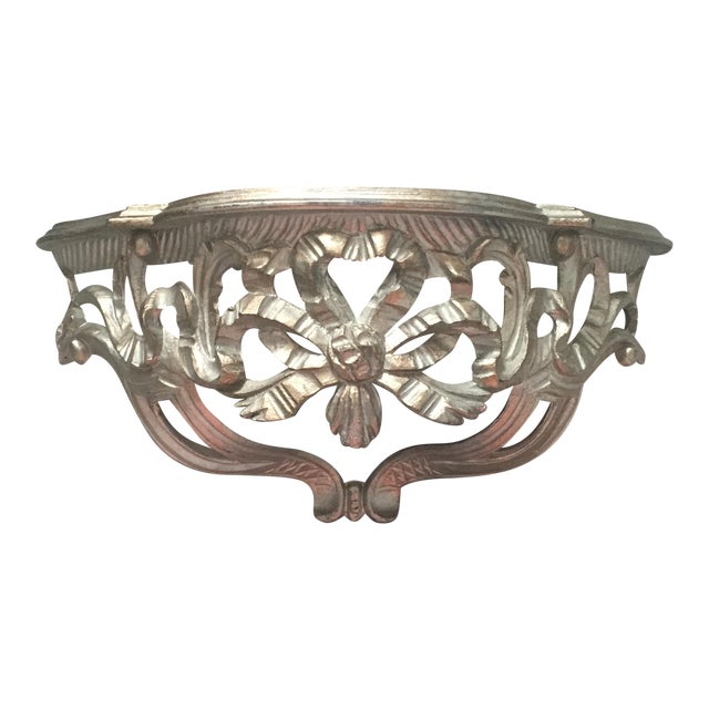 Made In Italy Ornate Silver Wall Shelf Bed Canopy Crown