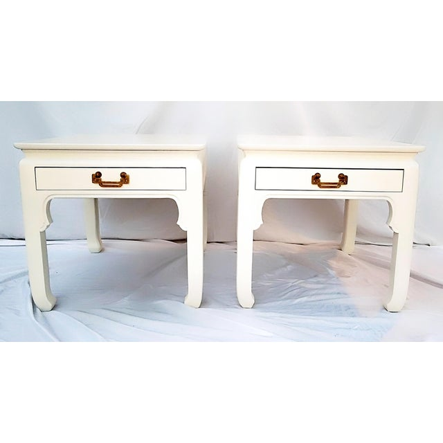 Lacquer 1960s Asian Inspired Linen White Solid Wood Side Tables - a Pair For Sale - Image 7 of 7
