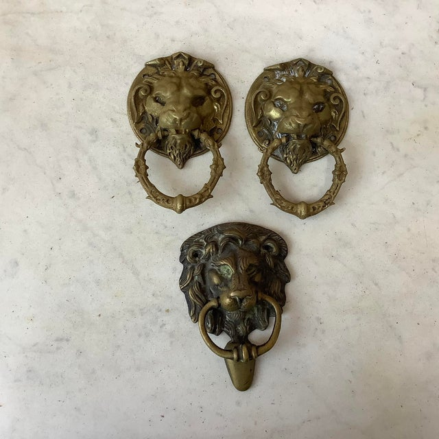 Late 19th Century Late 19th Century French Bronze Lion Head Door Knocker For Sale - Image 5 of 6