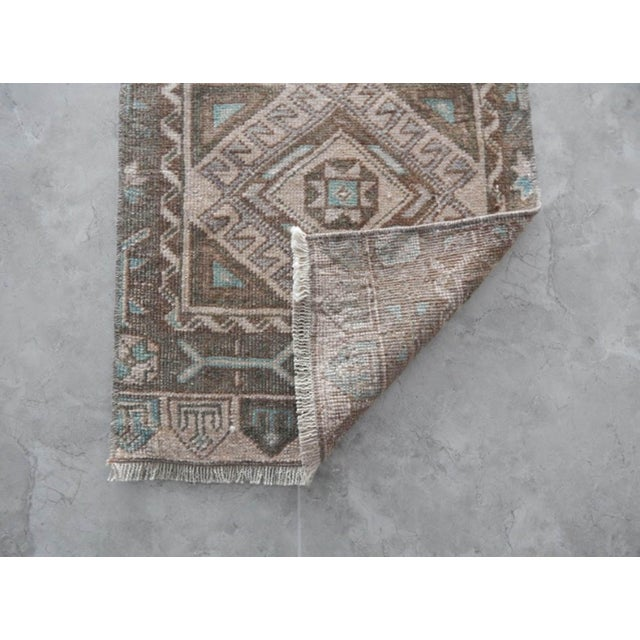 Textile Low Pile Distressed Small Rug Hand Knotted Oushak Rug For Sale - Image 7 of 8