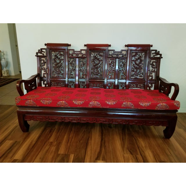 Vintage Mid Century Asian Carved Rosewood Settee For Sale - Image 12 of 12