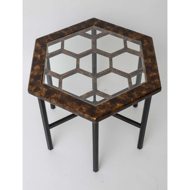 Widdicomb 1960s Asian Widdicomb Pair Hexangonal Faux Tortoise Occasional Tables - a Pair For Sale - Image 4 of 11
