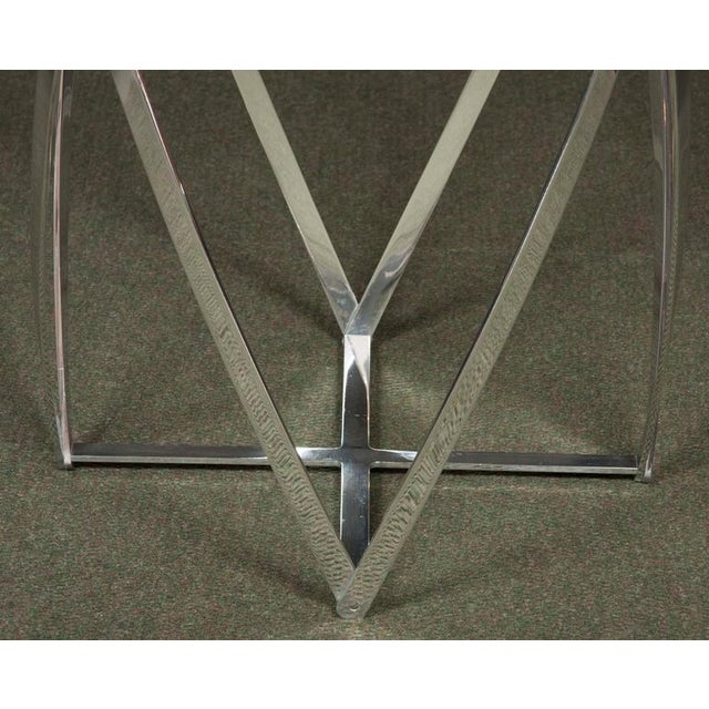 Late 20th Century A John Vesey Aluminum & Glass-Top Round Side Table For Sale - Image 5 of 6