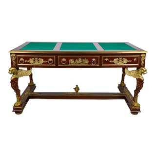 Late 19th Century Large Ornate Empire Desk For Sale