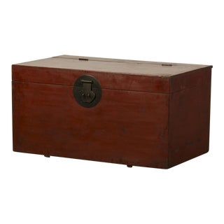 Large Antique Chinese Red Lacquer Trunk Kuang Hsu period circa 1875 For Sale