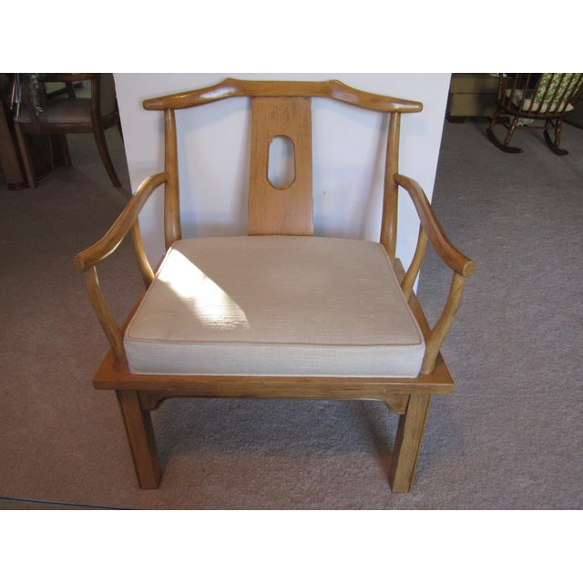 Vintage Chinese Chippendale Style Chinoiserie Blonde Wood Chair - Image 11 of 11