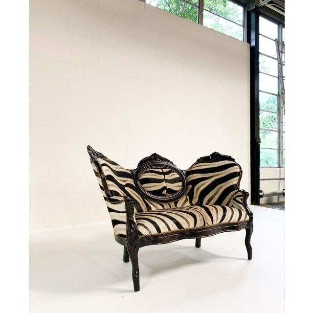 Antique Settee in Zebra Hide For Sale - Image 4 of 9