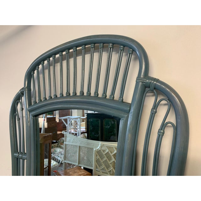 Rattan console and matching mirror feature wicker detailing and a beautiful blue finish. Excellent vintage condition....