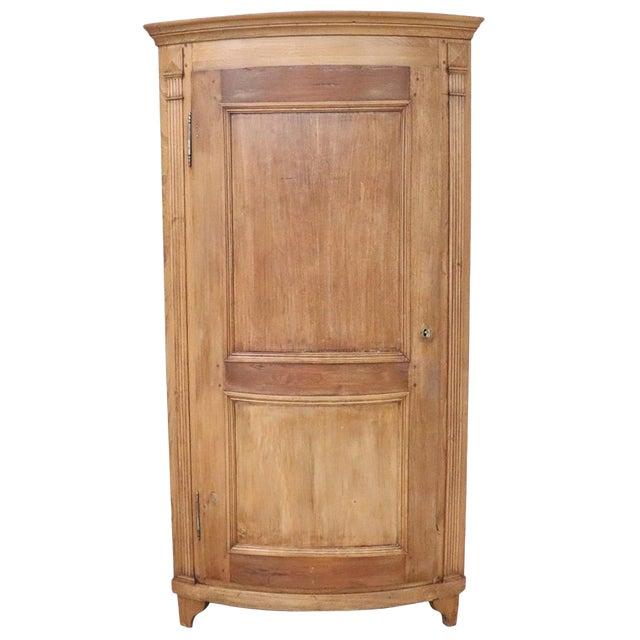 19th Century Italian Solid Chestnut Large Corner Cupboard or Corner Cabinet For Sale