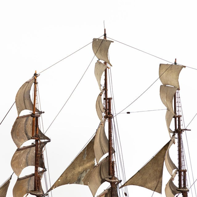French Late 19th Century Handmade Wooden Ship Model From France For Sale - Image 3 of 11