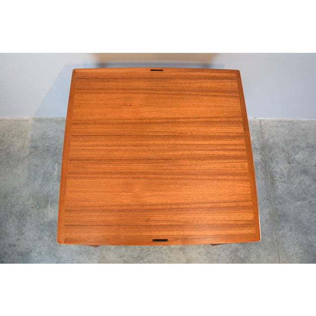Danish Modern Carlo Jensen Expanding Small Danish Teak Dining Table or Game Table For Sale - Image 3 of 13
