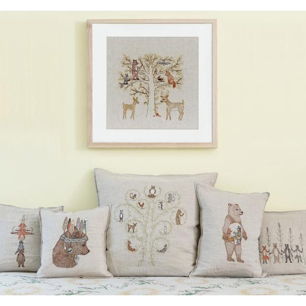 Woodland Family Framed Textile Art - Image 2 of 3