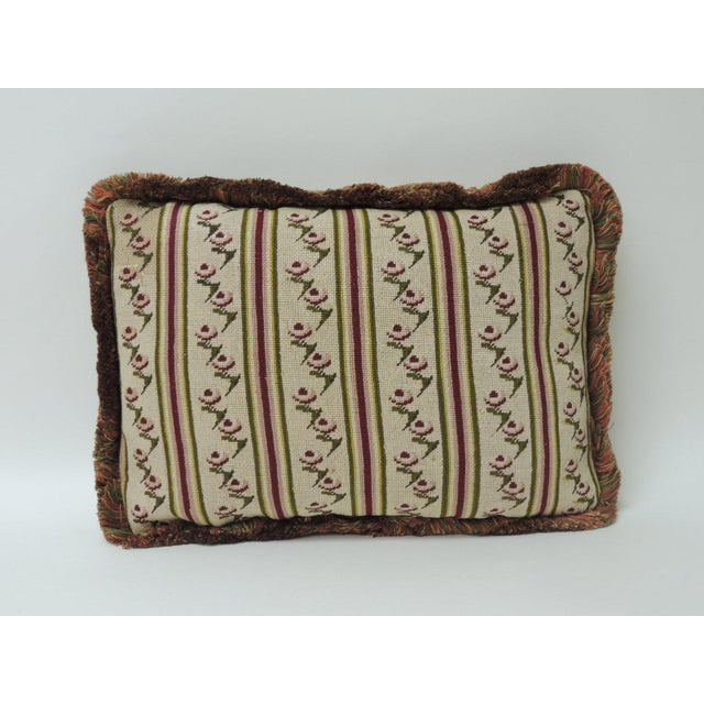 Late 18th Century Antique Tapestry Petite Floral Decorative Pillow For Sale - Image 5 of 5