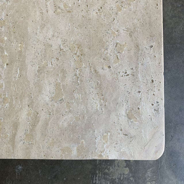 Rounded Edge Square Travertine Coffee Table For Sale - Image 10 of 13
