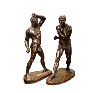 "Mid 19th Century Antique Pugilists ""Creugas and Damoxenos"" Grand Tour Bronze Sculptures- A Pair For Sale"