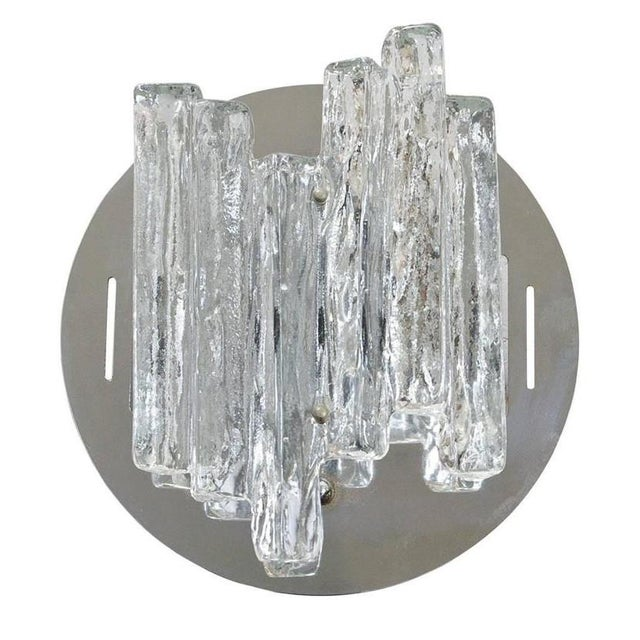 Set of 3 Italian wall lights with clear geometric Murano glass and chrome metal frames / Designed by Salviati circa 1960's...