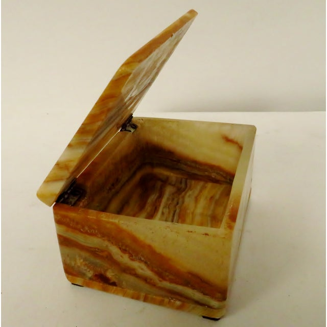 Stone Vintage Carved Onyx Box For Sale - Image 7 of 10
