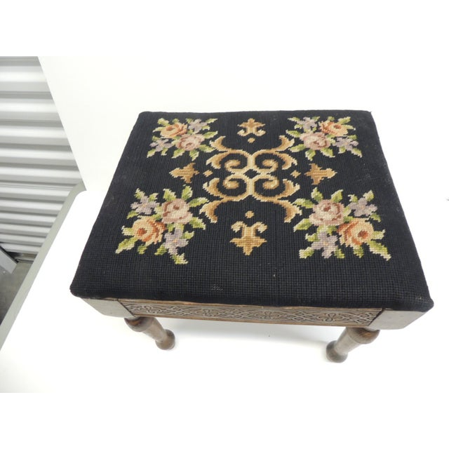 Gothic Vintage Gothic Style Footstool Reupholstered with Floral Tapestry Louis XVI Style Legs For Sale - Image 3 of 5