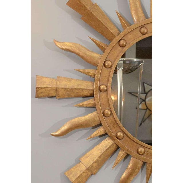 1980s Gilt Metal Sunburst Mirror For Sale In New York - Image 6 of 7