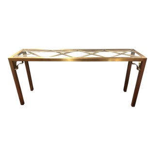 20th Century Hollywood Regency Brass Console Table For Sale