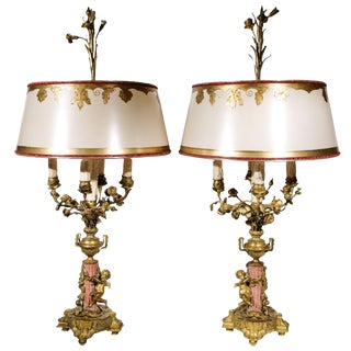 19th C. French Bronze and Coral Marble Lamps - a Pair For Sale
