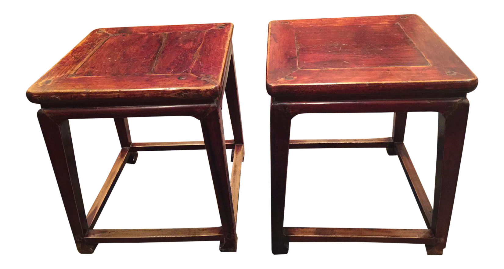 Attirant Chinese Antique Square Side Tables   A Pair