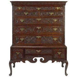 18th Century George III Carved Oak Highboy Cabinet For Sale