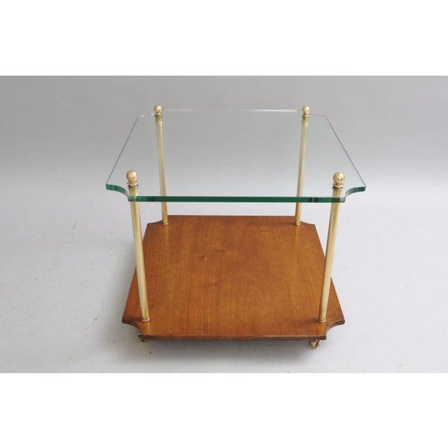 Mid Century Modern Walnut Brass Glass Table - Image 2 of 11
