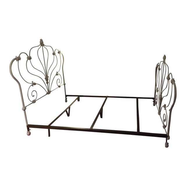 Antique White Rod Iron Double or Queen Bedframe - Image 1 of 7