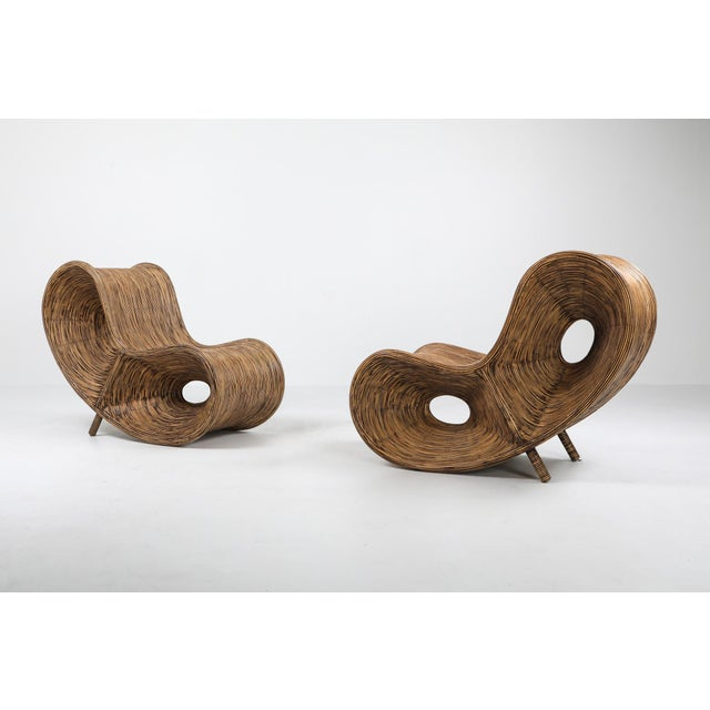 1980s Bamboo Rattan Lounge Chairs, Italy - a Pair For Sale - Image 4 of 13